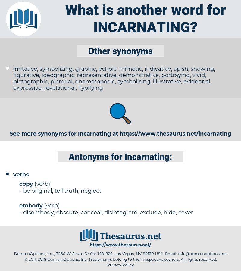 Incarnating, synonym Incarnating, another word for Incarnating, words like Incarnating, thesaurus Incarnating
