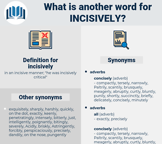 incisively, synonym incisively, another word for incisively, words like incisively, thesaurus incisively