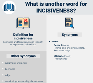 incisiveness, synonym incisiveness, another word for incisiveness, words like incisiveness, thesaurus incisiveness