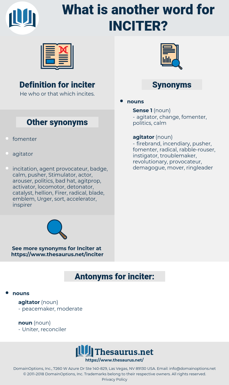 inciter, synonym inciter, another word for inciter, words like inciter, thesaurus inciter