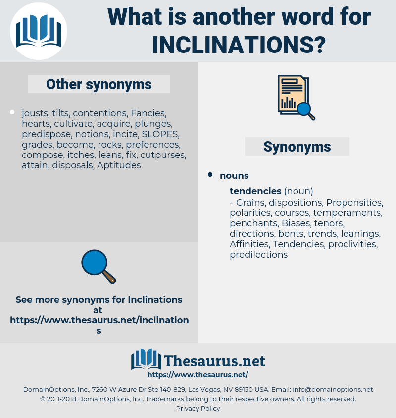 inclinations, synonym inclinations, another word for inclinations, words like inclinations, thesaurus inclinations