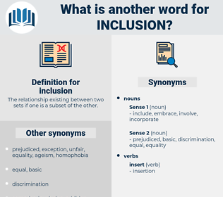 inclusion, synonym inclusion, another word for inclusion, words like inclusion, thesaurus inclusion