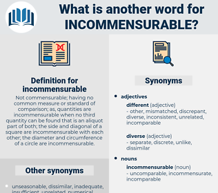 incommensurable, synonym incommensurable, another word for incommensurable, words like incommensurable, thesaurus incommensurable