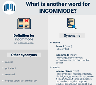 incommode, synonym incommode, another word for incommode, words like incommode, thesaurus incommode
