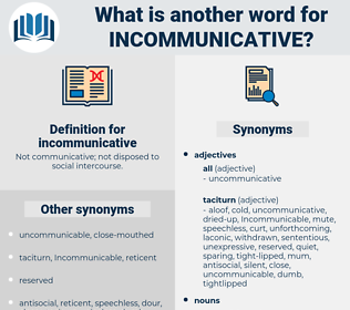 incommunicative, synonym incommunicative, another word for incommunicative, words like incommunicative, thesaurus incommunicative