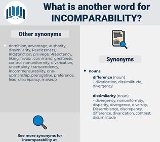 incomparability, synonym incomparability, another word for incomparability, words like incomparability, thesaurus incomparability