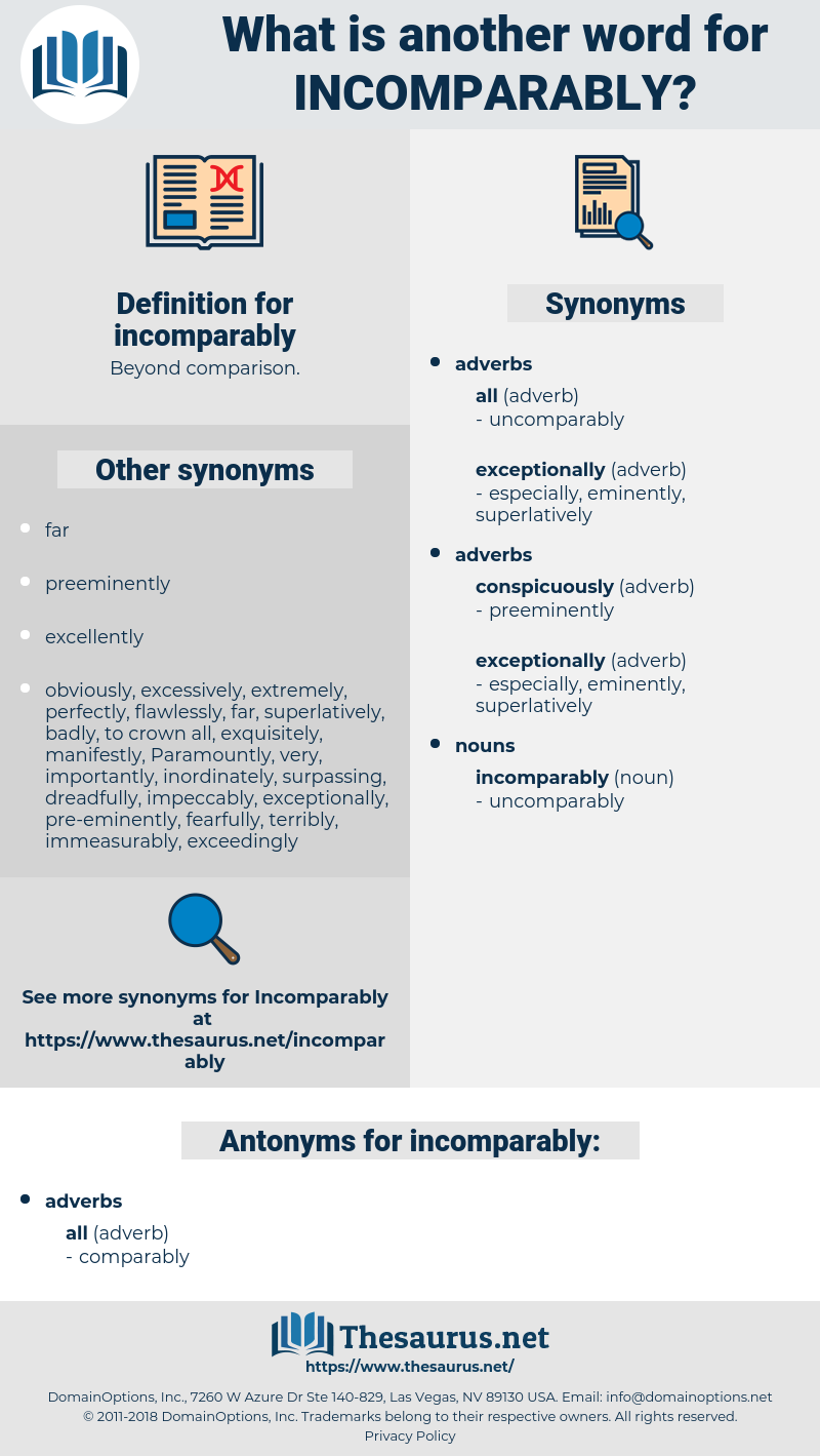 incomparably, synonym incomparably, another word for incomparably, words like incomparably, thesaurus incomparably