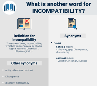 incompatibility, synonym incompatibility, another word for incompatibility, words like incompatibility, thesaurus incompatibility
