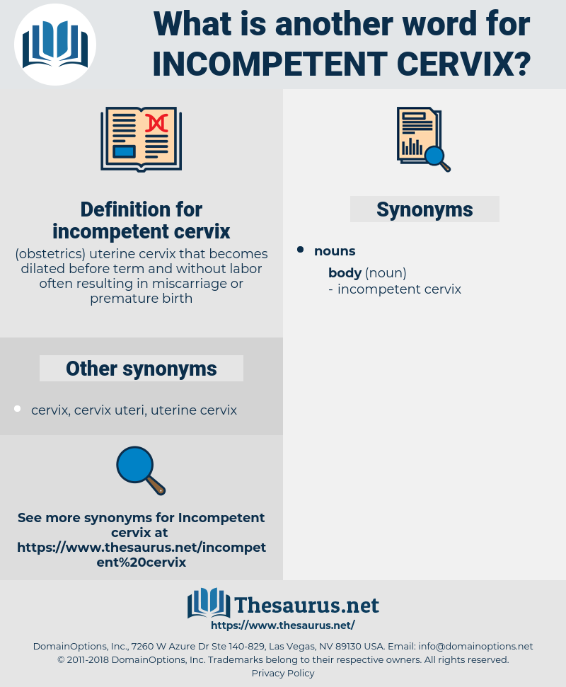 incompetent cervix, synonym incompetent cervix, another word for incompetent cervix, words like incompetent cervix, thesaurus incompetent cervix