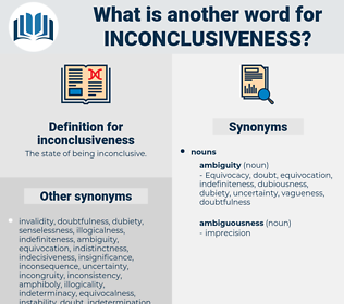 inconclusiveness, synonym inconclusiveness, another word for inconclusiveness, words like inconclusiveness, thesaurus inconclusiveness