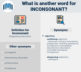 Inconsonant, synonym Inconsonant, another word for Inconsonant, words like Inconsonant, thesaurus Inconsonant