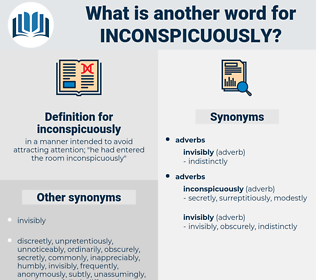 inconspicuously, synonym inconspicuously, another word for inconspicuously, words like inconspicuously, thesaurus inconspicuously