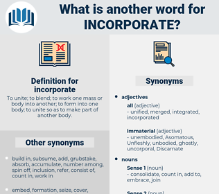 incorporate, synonym incorporate, another word for incorporate, words like incorporate, thesaurus incorporate