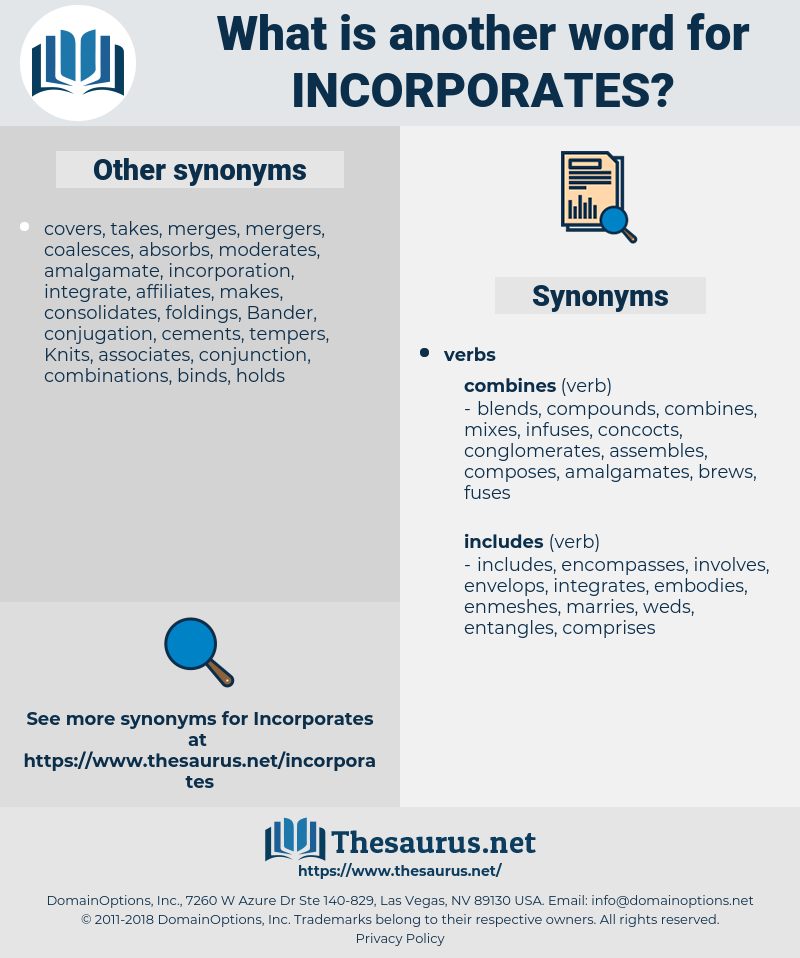 incorporates, synonym incorporates, another word for incorporates, words like incorporates, thesaurus incorporates