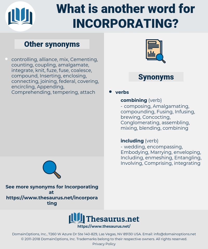 Incorporating, synonym Incorporating, another word for Incorporating, words like Incorporating, thesaurus Incorporating