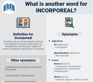 incorporeal, synonym incorporeal, another word for incorporeal, words like incorporeal, thesaurus incorporeal