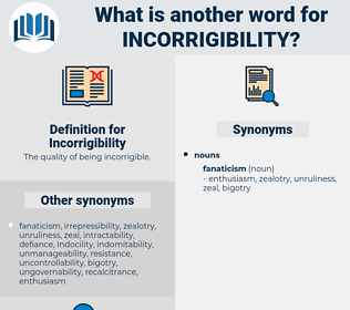 Incorrigibility, synonym Incorrigibility, another word for Incorrigibility, words like Incorrigibility, thesaurus Incorrigibility