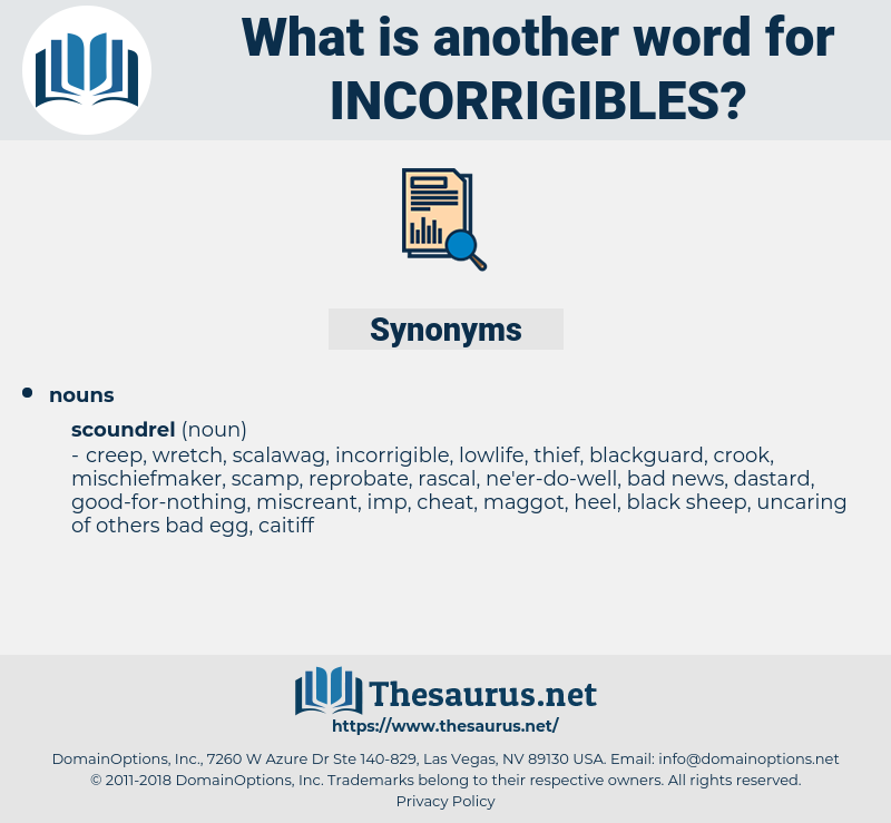 incorrigibles, synonym incorrigibles, another word for incorrigibles, words like incorrigibles, thesaurus incorrigibles