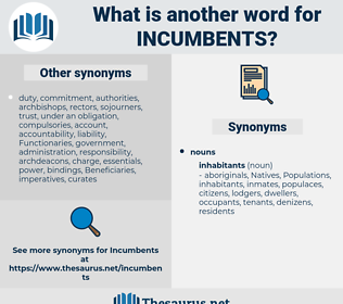 incumbents, synonym incumbents, another word for incumbents, words like incumbents, thesaurus incumbents