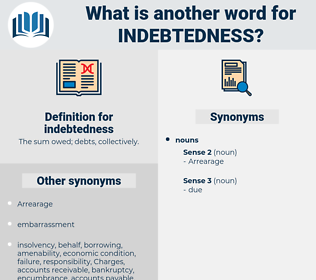 indebtedness, synonym indebtedness, another word for indebtedness, words like indebtedness, thesaurus indebtedness