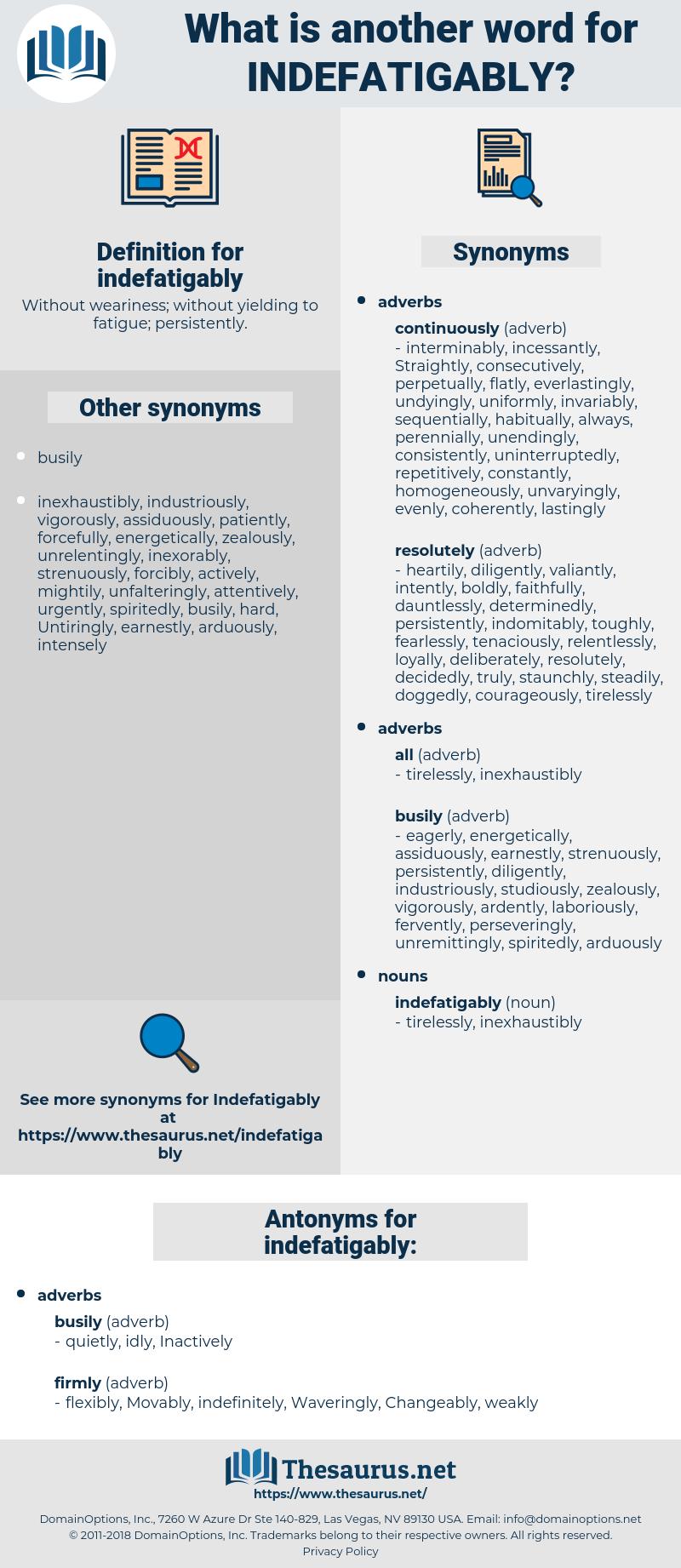 indefatigably, synonym indefatigably, another word for indefatigably, words like indefatigably, thesaurus indefatigably