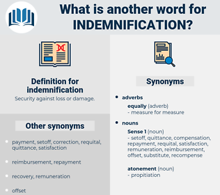 indemnification, synonym indemnification, another word for indemnification, words like indemnification, thesaurus indemnification