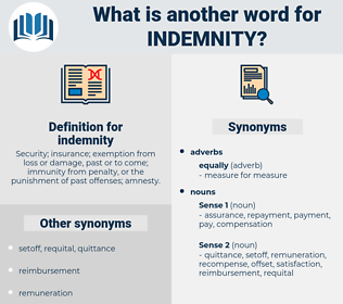 indemnity, synonym indemnity, another word for indemnity, words like indemnity, thesaurus indemnity