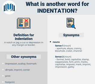 indentation, synonym indentation, another word for indentation, words like indentation, thesaurus indentation