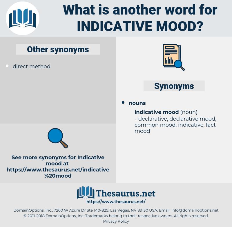 indicative mood, synonym indicative mood, another word for indicative mood, words like indicative mood, thesaurus indicative mood