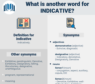 indicative, synonym indicative, another word for indicative, words like indicative, thesaurus indicative