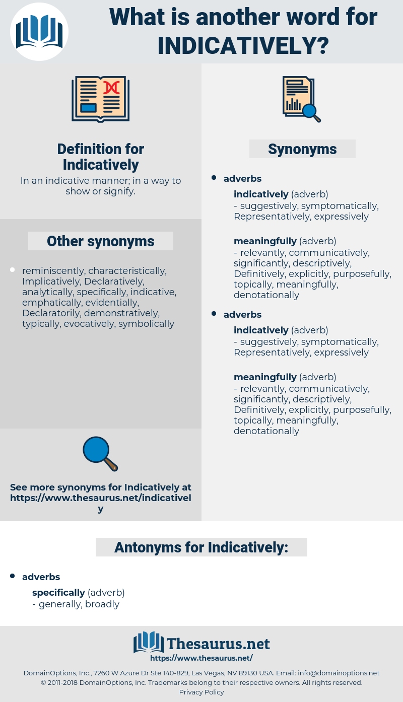 Indicatively, synonym Indicatively, another word for Indicatively, words like Indicatively, thesaurus Indicatively