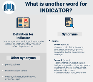 indicator, synonym indicator, another word for indicator, words like indicator, thesaurus indicator