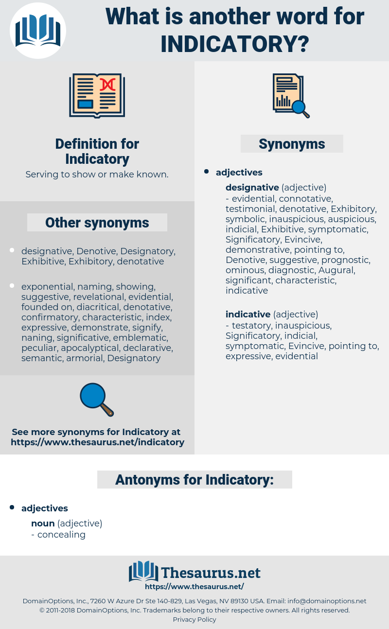 Indicatory, synonym Indicatory, another word for Indicatory, words like Indicatory, thesaurus Indicatory