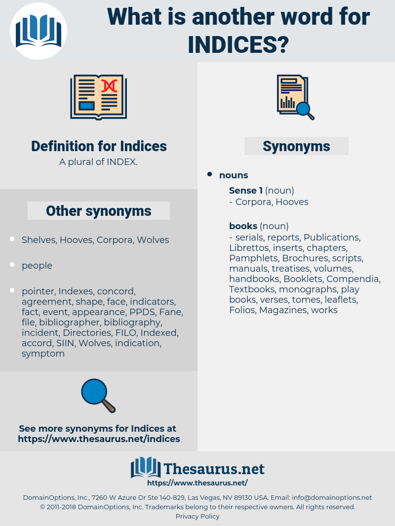 Indices, synonym Indices, another word for Indices, words like Indices, thesaurus Indices