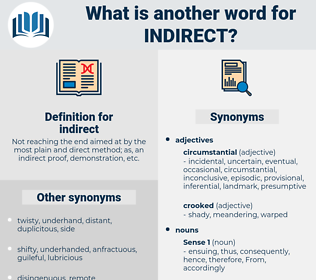 indirect, synonym indirect, another word for indirect, words like indirect, thesaurus indirect