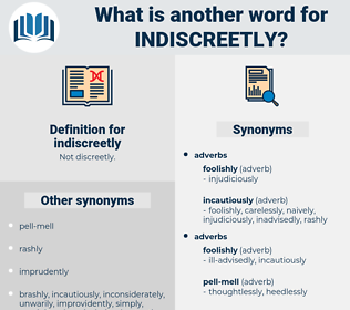 indiscreetly, synonym indiscreetly, another word for indiscreetly, words like indiscreetly, thesaurus indiscreetly