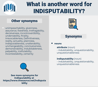 indisputability, synonym indisputability, another word for indisputability, words like indisputability, thesaurus indisputability