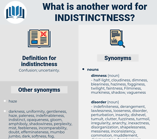 indistinctness, synonym indistinctness, another word for indistinctness, words like indistinctness, thesaurus indistinctness