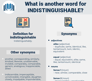 indistinguishable, synonym indistinguishable, another word for indistinguishable, words like indistinguishable, thesaurus indistinguishable