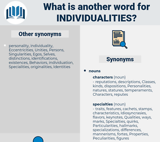 Individualities, synonym Individualities, another word for Individualities, words like Individualities, thesaurus Individualities
