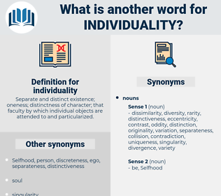 individuality, synonym individuality, another word for individuality, words like individuality, thesaurus individuality