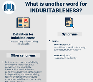 Indubitableness, synonym Indubitableness, another word for Indubitableness, words like Indubitableness, thesaurus Indubitableness