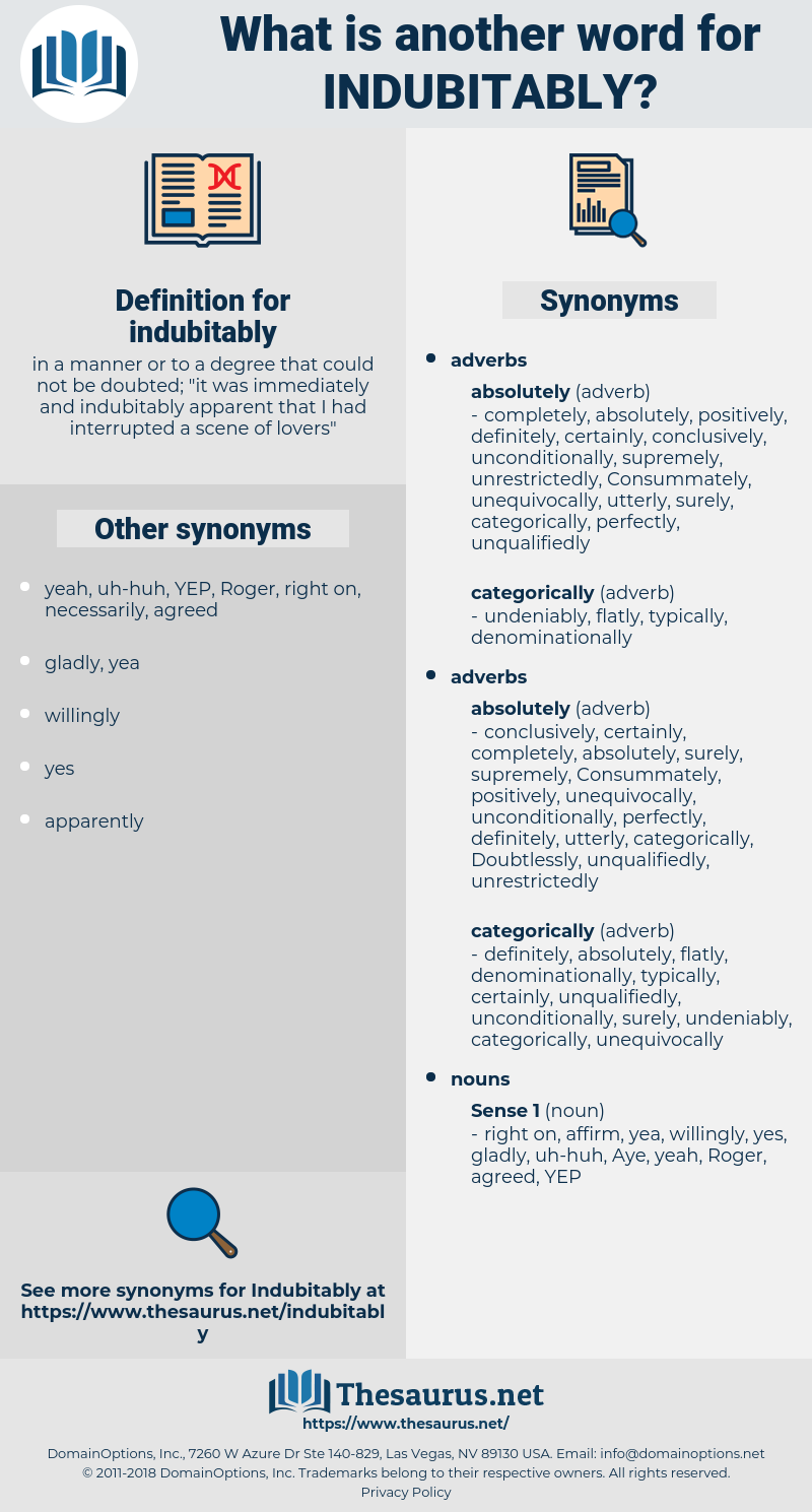 indubitably, synonym indubitably, another word for indubitably, words like indubitably, thesaurus indubitably