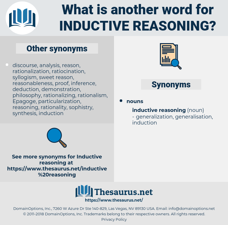 inductive reasoning, synonym inductive reasoning, another word for inductive reasoning, words like inductive reasoning, thesaurus inductive reasoning