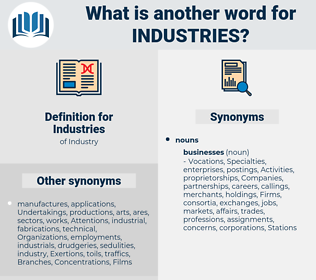 Industries, synonym Industries, another word for Industries, words like Industries, thesaurus Industries