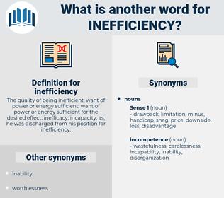 inefficiency, synonym inefficiency, another word for inefficiency, words like inefficiency, thesaurus inefficiency