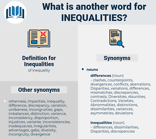 Inequalities, synonym Inequalities, another word for Inequalities, words like Inequalities, thesaurus Inequalities