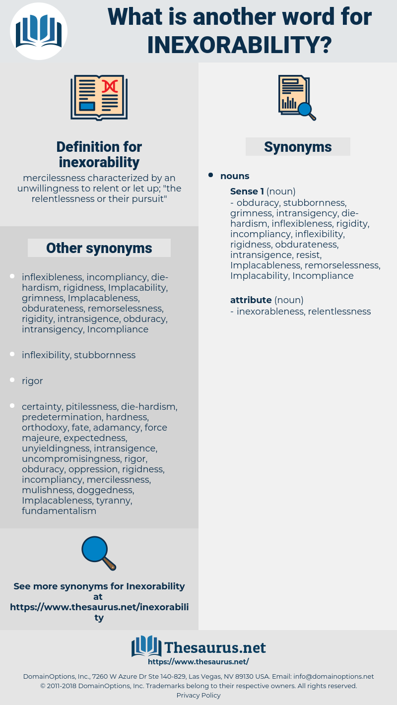 inexorability, synonym inexorability, another word for inexorability, words like inexorability, thesaurus inexorability