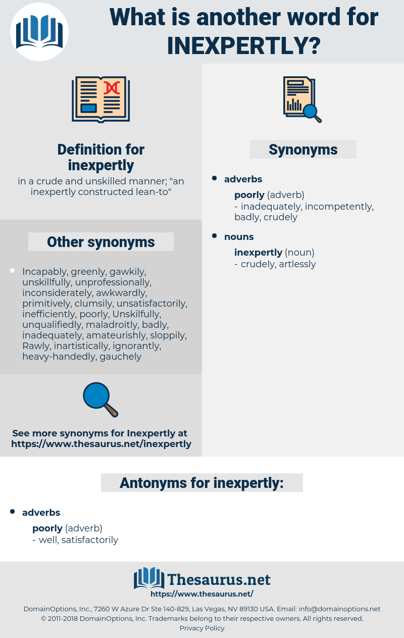 inexpertly, synonym inexpertly, another word for inexpertly, words like inexpertly, thesaurus inexpertly