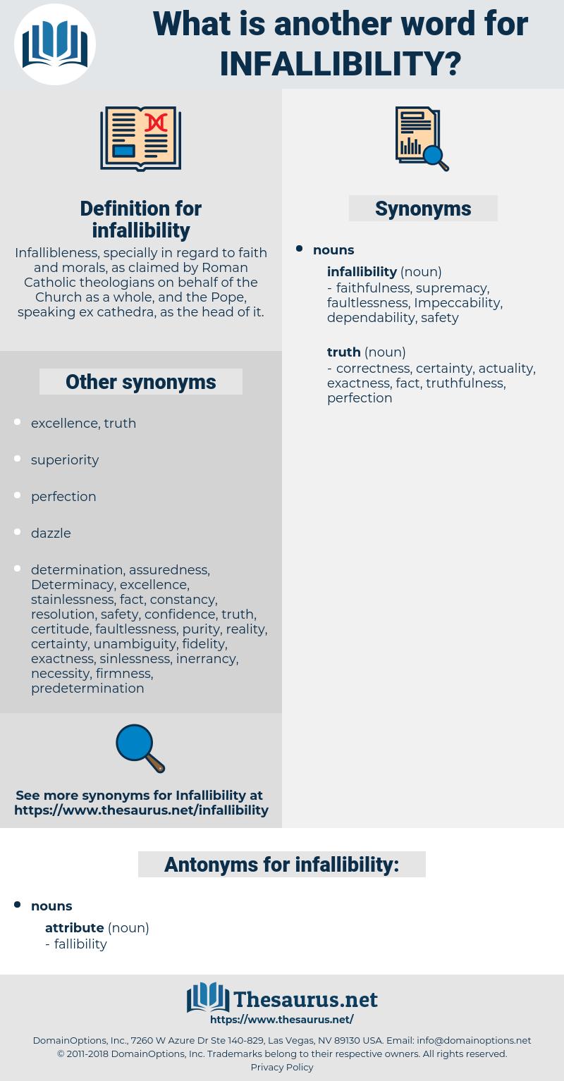 infallibility, synonym infallibility, another word for infallibility, words like infallibility, thesaurus infallibility